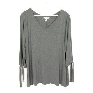Soma Gray Knit Top 3/4 Slit Tied Sleeves Sz XXL